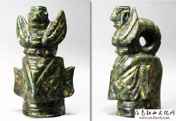 玉雕人头神像中,也有三星堆青铜人头像中的凸目人